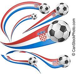 croatia flag set with soccer ball
