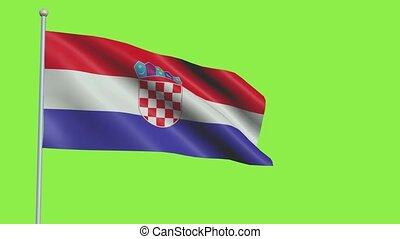 Croatia Flag in 3D render with green screen background in Slow Motion
