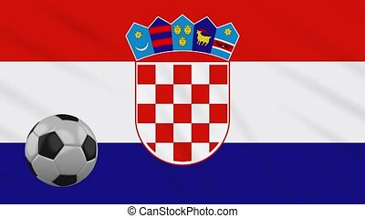 Croatia flag waving and football rotates, loop