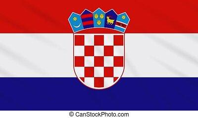 Croatia flag waving cloth background, loop