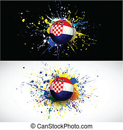 croatia flag with soccer ball dash on colorful background