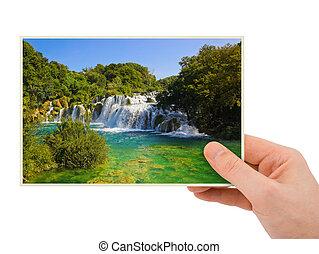 (croatia), fotográfia, vízesés, krka, kéz