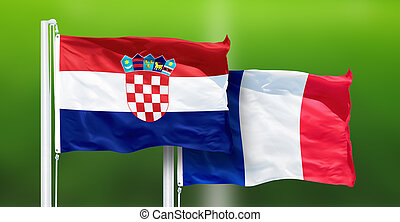 Croatia - France, FINAL of soccer World Cup, Russia 2018 National Flags