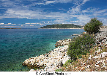View from the island Goli otok, Croatia