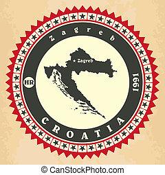 croatia., label-sticker, tarjetas, vendimia
