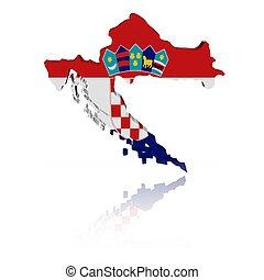 Croatia map flag with reflection - Croatia map flag 3d...