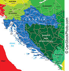 Croatia map - Highly detailed vector map of Croatia with...