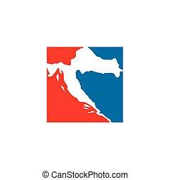 croatia map logo icon vector symbol