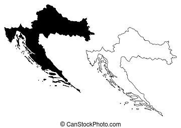Croatia map vector illustration, scribble sketch Croatia