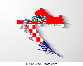 Croatia map with shadow effect