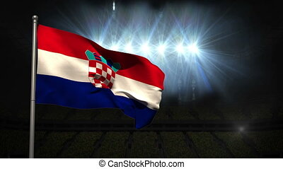 Croatia national flag waving on fla