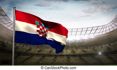 Croatia national flag waving on sta