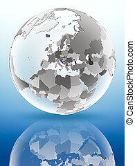 Croatia on political globe
