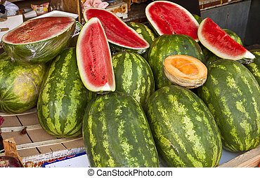 Croatia, open air market with watermelons