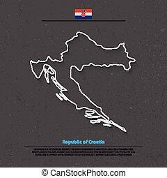 croatia outline - Republic of Croatia isolated map and...