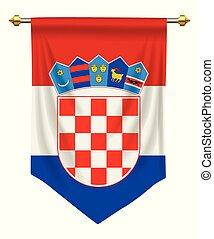 Croatia Pennant - Croatia flag or pennant isolated on white