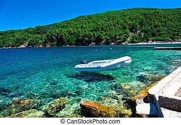 croatia sea - inflatable raft and wonderful croatian sea