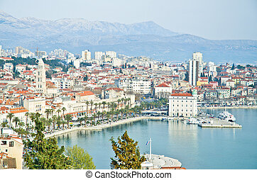 Croatia - Split in Dalmatia. Panorama of Old town rooftops
