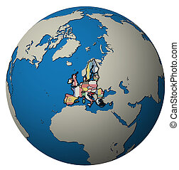 croatia territory with flag over globe map