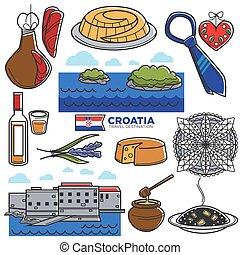 Croatia tourism travel famous symbols and tourist culture landmarks vector icons