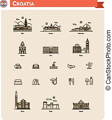Croatia travel icon set - Set of the Croatia traveling ...