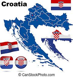 Croatia vector set.