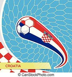 Croatia waving flag and soccer ball in goal net
