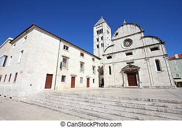 Zadar - Croatia - Zadar in Dalmatia. Townscape with St. Mary...
