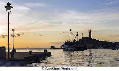 Croatian coast, the port of Rovinj.