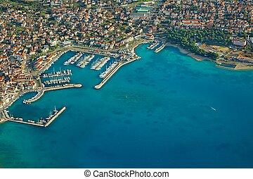 Croatian coastal town aerial view