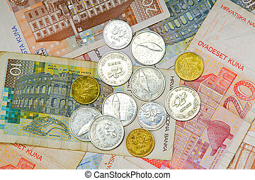 Croatian coins - Close up shot of Croatian banknotes and...