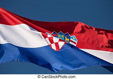 Croatian flag against the blue sky