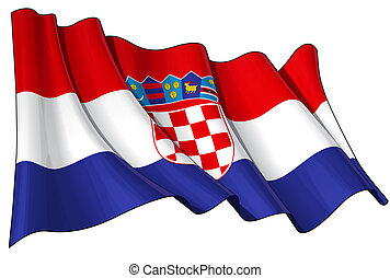 Croatian Flag - Illustration of a Waving Croatian Flag