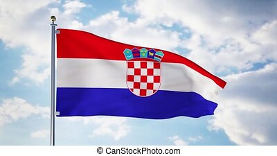 Croatian flag waving in the wind shows croatia symbol of...