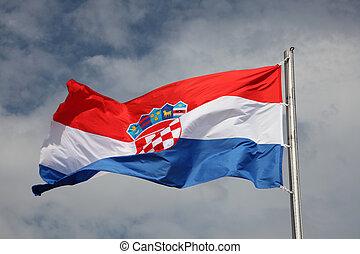 Croatian flag waving in the wind
