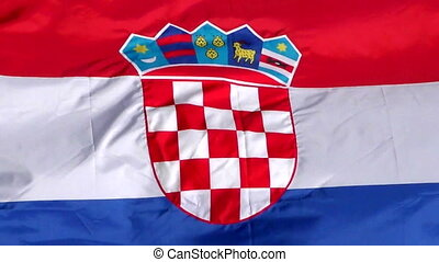 Croatian flag waving in the wind