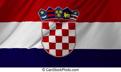 Croatian flag waving in wind 2 in 1 - Croatian flag waving...