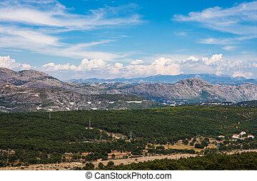 Croatian landscape with mountainpeaks