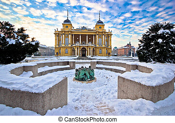Croatian national theater in Zagreb winter view, Croatia