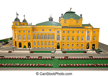 Croatian National Theatre building made of lego blocks