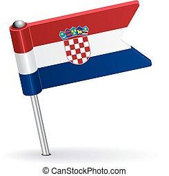 Croatian pin icon flag. Vector illustration