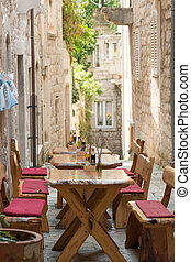 Croatian restaurant - Traditional sidewalk restaurant in...