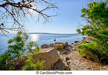 Croatian seashore with rocks - Natural croatian seashore...