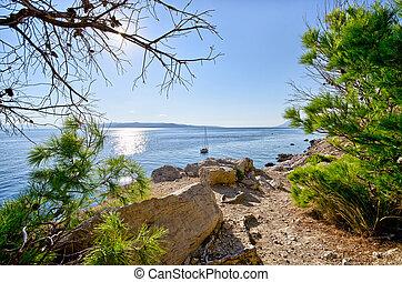 Croatian seashore with rocks