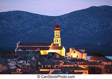 Croatian town Betina at dusk