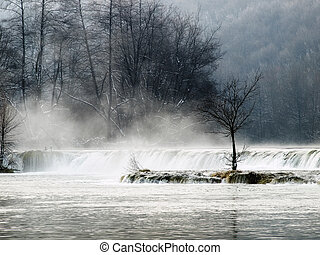 Croatian winter - Waterfall in the winter morning on the...
