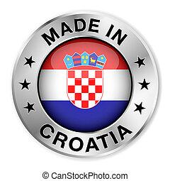 croatie, fait, écusson, argent