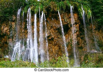 croatie, vue, chute eau, plitvice, parc, national
