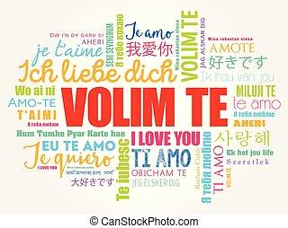 croato, parola, amore, volim, te, lei, nuvola