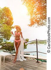 croazia, vino, giovane, bianco, mare, aperto, bere, godere, mediterraneo, rilassante, donna, bello, terrazzo, vista